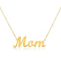 Zlatý náhrdelník 585 s nápisem Mom, tenký nastavitelný řetízek