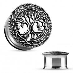 Ocelový tunel do ucha, vyřezávaný košatý strom, černá patina, čiré zirkony