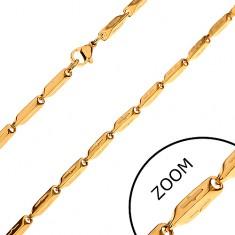 Řetízek z chirurgické oceli zlaté barvy, zkosené hranoly se zářezy, 3 mm