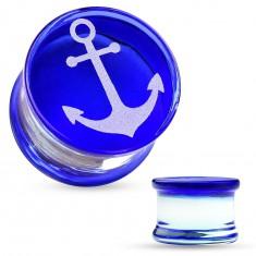 Sedlový plug z pyrexového skla, bílá kotva na modrém podkladu