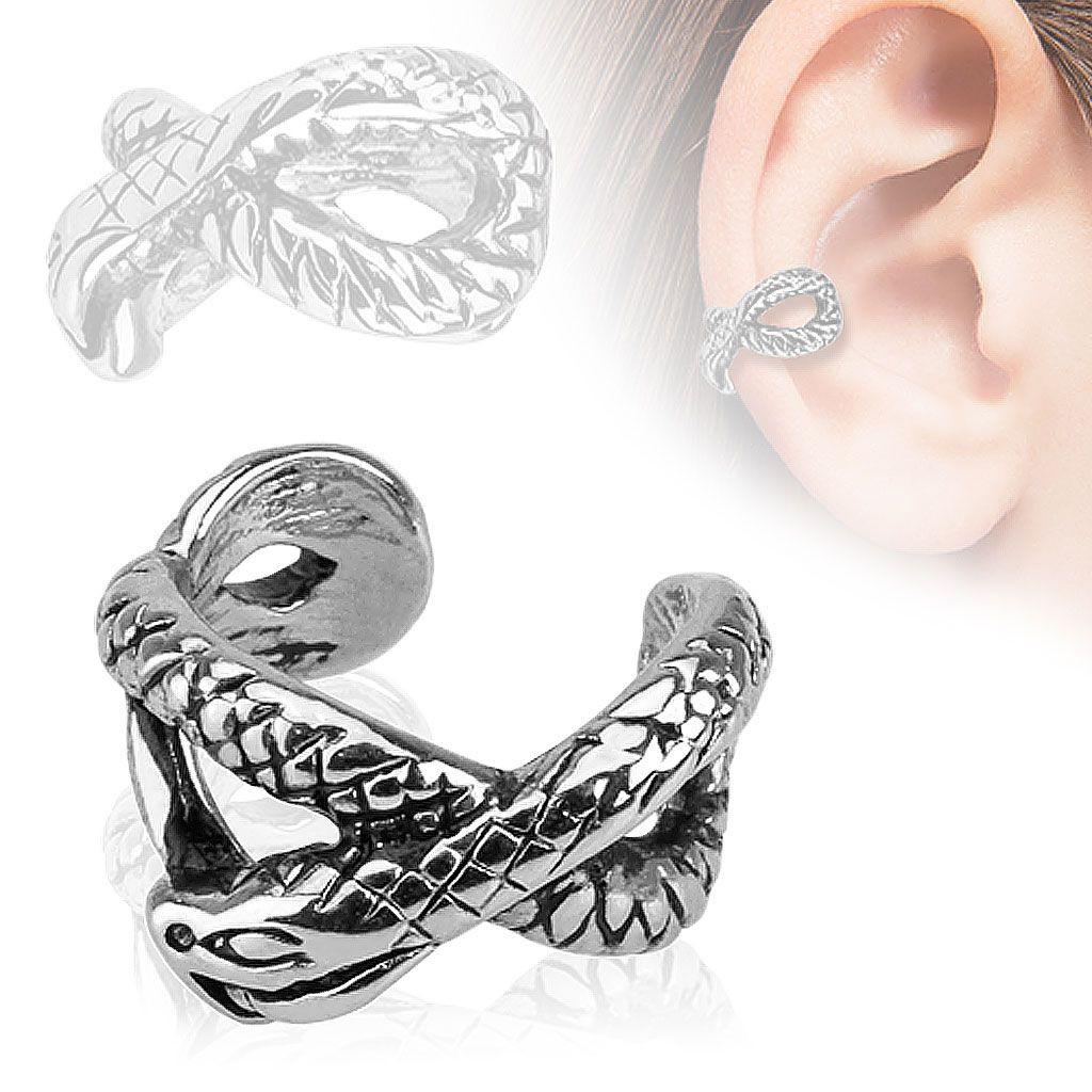 Fake piercing do ucha z oceli 316L, stříbrná barva, patinovaný had