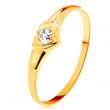 Diamantový zlatý prsten 585 - blýskavé srdíčko se vsazeným kulatým briliantem