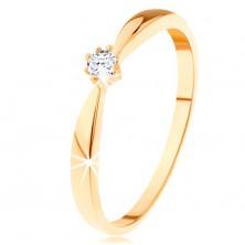 Prsten ze žlutého 14K zlata - zaoblená ramena, kulatý diamant čiré barvy