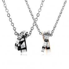 Set ocelových náhrdelníků, dvoubarevné propojené kroužky, nápisy, zirkony