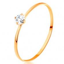 Prsten ze žlutého 14K zlata - tenká ramena, kulatý diamant čiré barvy