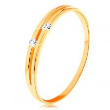 Zlatý diamantový prsten 585 - lesklá hladká ramena s úzkým výřezem a brilianty