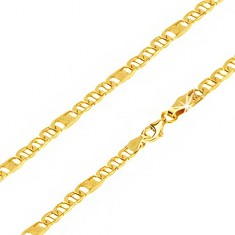 Řetízek ze žlutého 14K zlata, oválná očka s tyčinkou, článek s mřížkou, 500 mm