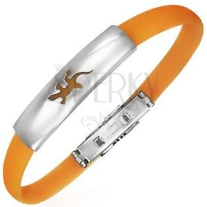 Plochý gumový náramek - ještěrka, oranžový