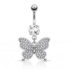 Ocelový piercing do pupíku stříbrné barvy, blýskavý motýl, čiré zirkony