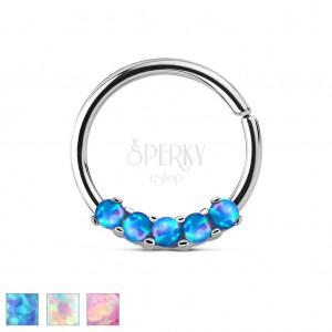 d2a6e2856 Ocelový piercing stříbrné barvy, lesklý kroužek se syntetickými opály