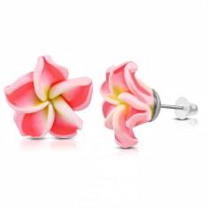 FIMO náušnice, kvítek se žlutým středem a neonově růžovými lupínky