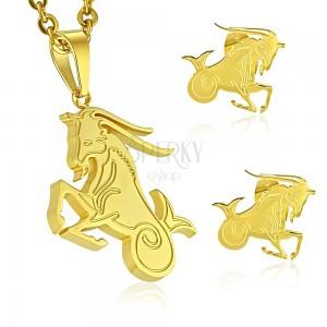 d6e948c53 Set z chirurgické oceli zlaté barvy, přívěsek a náušnice, znamení KOZOROH