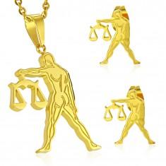 Ocelový set zlaté barvy - přívěsek a puzetové náušnice, znamení VÁHY AA11.23