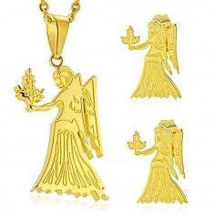Sada z chirurgické oceli zlaté barvy, přívěsek a náušnice, znamení PANNA
