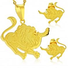 Ocelová sada zlaté barvy, náušnice a přívěsek, znamení LEV