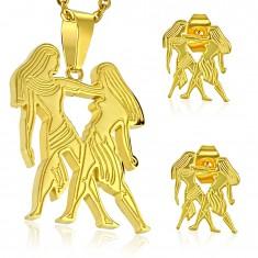 Set z chirurgické oceli ve zlatém odstínu, přívěsek a náušnice, znamení BLÍŽENCI