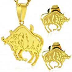 Ocelová sada zlaté barvy - přívěsek a puzetové náušnice, znamení BÝK