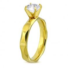 1f54b2d80 Zásnubní prsten z chirurgické oceli zlaté barvy, broušená ramena, čirý  zirkon H9.02