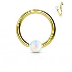 Piercing z chirurgické oceli, lesklý kroužek zlaté barvy s opálovou kuličkou