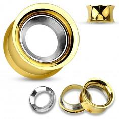 Ocelový tunel do ucha zlaté barvy s kruhem ve stříbrném odstínu, vysoký lesk