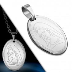 Oválný ocelový přívěsek - mohutná známka s vygravírovanou Pannou Marií AA18.24