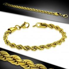 Náramek z chirurgické oceli zlaté barvy, řetízek se vzorem zatočeného lana AA23.31