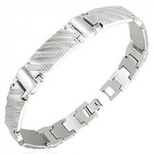 Ocelový náramek v hodinkovém stylu - pruhy