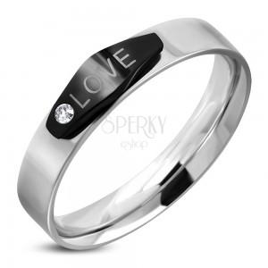 d979f9783 Ocelový prsten stříbrné barvy, černý ovál s nápisem LOVE a zirkonem ...