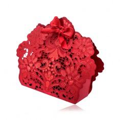 Červená dárková taštička s květinovými ornamenty, výřezy a mašlí