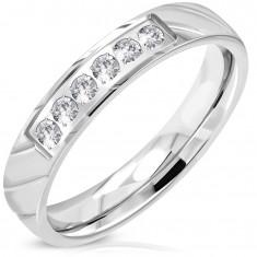 Prsten z oceli 316L, stříbrný odstín, třpytivá čirá zirkonová linie, 4 mm