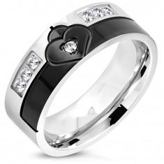 Prsten z chirurgické oceli černé a stříbrné barvy, srdce se zirkonem, 8 mm