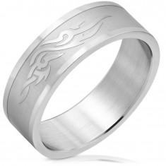 Ocelový prsten s matným středem, lesklé ornamenty a okraje, 8 mm