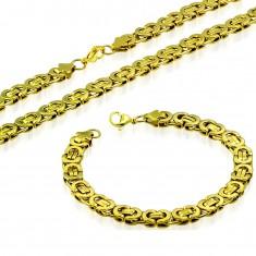 Set náhrdelníku a náramku, ocel 316L zlaté barvy, byzantský vzor