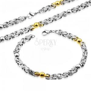 Ocelový set - náhrdelník a náramek, dvoubarevné články, lesklé kuličky