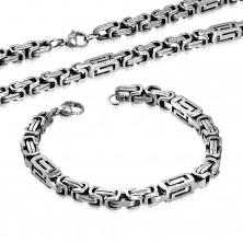 Sada z chirurgické oceli - náhrdelník a náramek stříbrné barvy, hranoly s výřezy