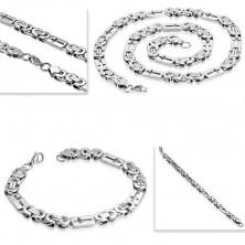 Sada z oceli 316L stříbrné barvy - náhrdelník a náramek, obdélníky s křížky