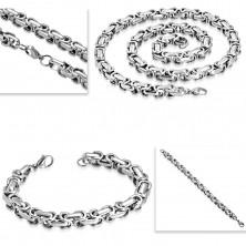 Ocelový náhrdelník a náramek, silný hranatý řetěz stříbrné barvy