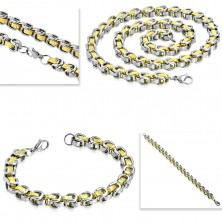 Sada z chirurgické oceli - náhrdelník s náramkem, dvoubarevné články, řecký klíč