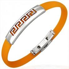 Oranžový gumový náramek - řecký klíč