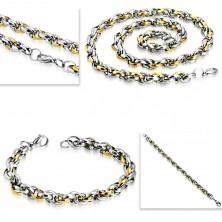 Ocelová sada - náhrdelník s náramkem, dvoubarevné oválné články