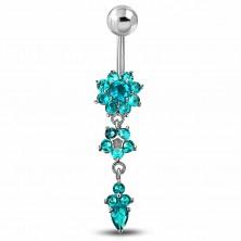Piercing do bříška z chirurgické oceli, zirkonové květy modré barvy