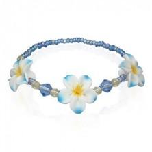 Fimo korálkový náramek s květy, modrý
