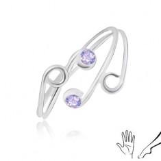 Prsten ze stříbra 925 na ruku nebo nohu, tenká ramena s fialovými zirkony