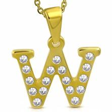 Přívěsek z chirurgické oceli zlaté barvy, tiskací písmeno W zdobené zirkony