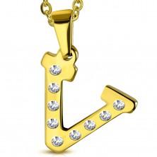 Ocelový přívěsek ve zlatém odstínu, písmeno V vykládané čirými zirkony