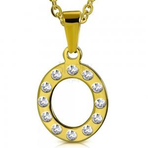 Ocelový přívěsek ve zlatém odstínu, písmeno O vykládané čirými zirkony