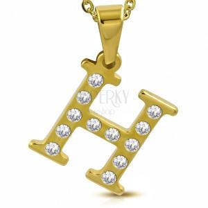 Ocelový přívěsek ve zlatém odstínu, písmeno H vykládané čirými zirkony