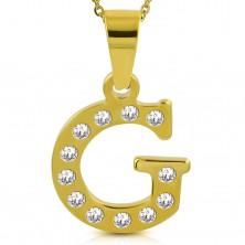 Přívěsek zlaté barvy, chirurgická ocel, tiskací písmeno G zdobené zirkony