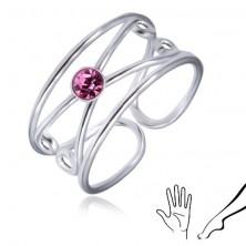 Stříbrný prsten 925 - kulatý světle fialový zirkon, zdvojená smyčka