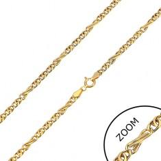Řetízek ze žlutého zlata 585 - osmičková a oválná očka, 450 mm